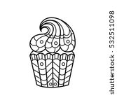line drawing of the cupcake in... | Shutterstock .eps vector #532511098