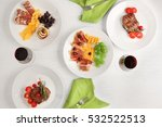 steak and appetizers with wine... | Shutterstock . vector #532522513