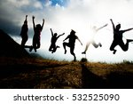 blurred of silhouette people... | Shutterstock . vector #532525090