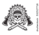 indian chief skull front view... | Shutterstock .eps vector #532527718