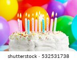 birthday cake with candles on... | Shutterstock . vector #532531738