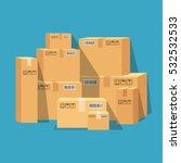 pile of stacked sealed goods... | Shutterstock .eps vector #532532533