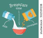 breakfast with milk and... | Shutterstock .eps vector #532539238