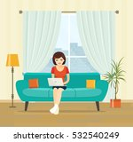 freelancer woman with notebook... | Shutterstock .eps vector #532540249