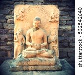 Small photo of Ancient Buddha stature in india