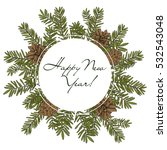 christmas fir wreath. vector... | Shutterstock .eps vector #532543048