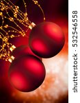 Christmas Baubles On Red...