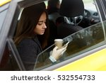 woman with coffee and phone | Shutterstock . vector #532554733