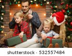 smiling family give christmas... | Shutterstock . vector #532557484