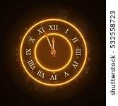 gold christmas magic clock... | Shutterstock . vector #532558723