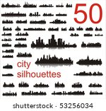 city silhouettes of the most... | Shutterstock . vector #53256034