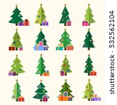 christmas tree cartoon icons... | Shutterstock . vector #532562104