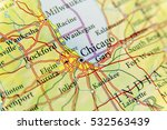 geographic map of chicago close | Shutterstock . vector #532563439