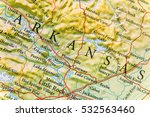 geographic map of arkansas close | Shutterstock . vector #532563460