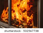 Closeup Of Burning Fire Wood I...