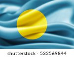 palau flag of silk 3d... | Shutterstock . vector #532569844