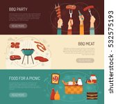 barbecue party horizontal... | Shutterstock .eps vector #532575193