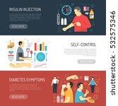 diabetes horizontal banners set ...   Shutterstock .eps vector #532575346