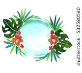 watercolor tropical logo with...   Shutterstock . vector #532580560