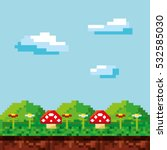 game scene pixelated background ... | Shutterstock .eps vector #532585030