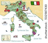 cartoon map of italy | Shutterstock .eps vector #532587430