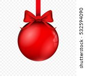 realistic red glass christmas... | Shutterstock .eps vector #532594090