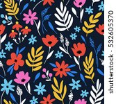 vector floral pattern with... | Shutterstock .eps vector #532605370