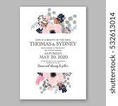 wedding invitation floral...   Shutterstock .eps vector #532613014
