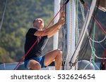 yachtsman pulls the rope... | Shutterstock . vector #532624654