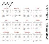 calendar template 2017 with a... | Shutterstock . vector #532633573