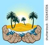 desert and ocean waves in human ... | Shutterstock . vector #532643506