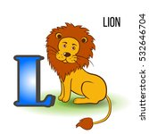 Cute Zoo Alphabet L With...