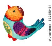 cute watercolor bird character... | Shutterstock . vector #532650484