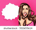 Pop Art Vintage advertising poster comic girl with speech bubble. Pretty girl showing tongue and rock and roll sign vector illustration | Shutterstock vector #532655614