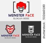 set of monster face and logo... | Shutterstock .eps vector #532660180