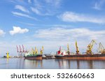 lifting cargo cranes  ships and ... | Shutterstock . vector #532660663