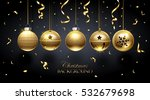golden christmas balls and... | Shutterstock .eps vector #532679698