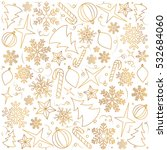 hand drawn pattern of christmas ... | Shutterstock .eps vector #532684060