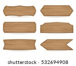 set of 6 shapes wooden sign... | Shutterstock .eps vector #532694908