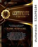 template of certificate of... | Shutterstock .eps vector #532698184