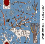 christmas card with deer and... | Shutterstock .eps vector #532699864
