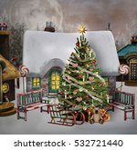 christmas tree in a little... | Shutterstock . vector #532721440