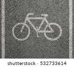 bicycle sign on asphalt  | Shutterstock . vector #532733614