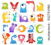 set of twenty colorful pretty... | Shutterstock .eps vector #532751980