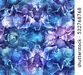 Roses Blue Seamless Pattern....