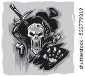 skull label vector illustration.... | Shutterstock .eps vector #532779319