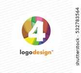 Numbers Set Logos At Colorful...