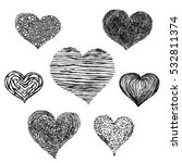 hand drawn vector hearts on... | Shutterstock .eps vector #532811374