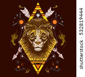 lion color tattoo tribal style  ... | Shutterstock .eps vector #532819444