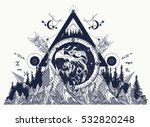 eagle  tattoo art  mountains ... | Shutterstock .eps vector #532820248